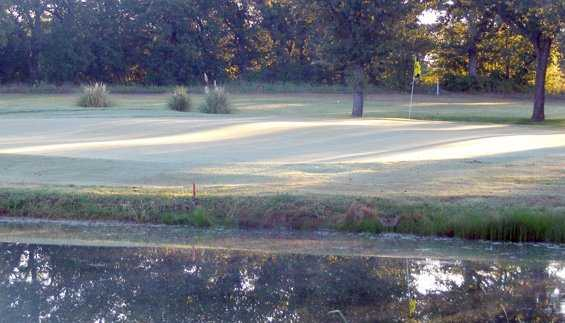 A view over the water of green at Lone Cedar Country Club