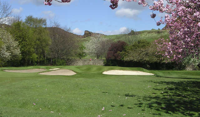 A beautiful spring view of green #2 protected by bunkers at Prestonfield Golf Club