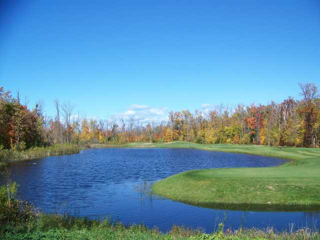 A fall view of hole #8 at Black Brook Course from Izatys Golf & Yacht Club.