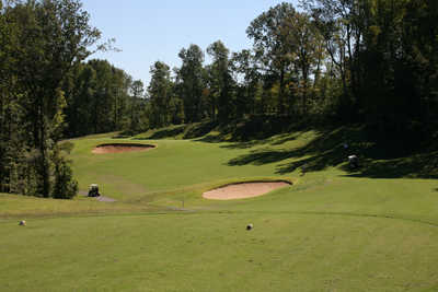 A view from a tee at Mineral Mound State Park Golf Course.