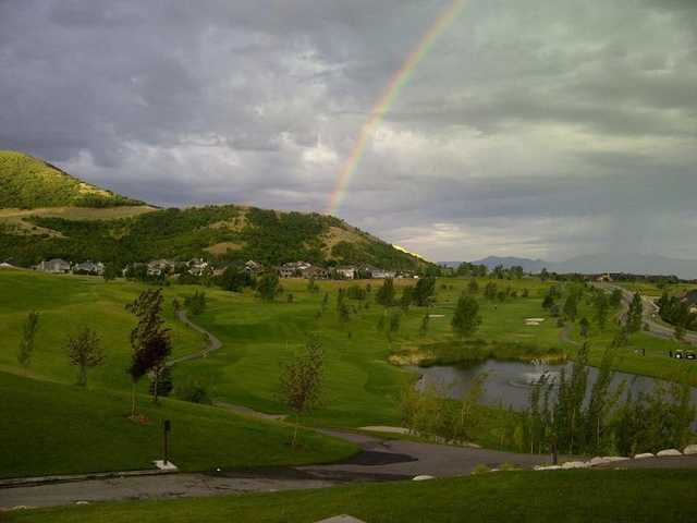 A view of rainbow over Eaglewood Golf Course