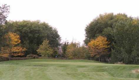 A fall view of a green at Lakeside Golf Course