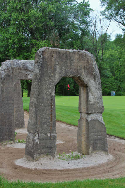 Remnants of a railroad line sit next to the third green on the Rail nine of Great Gorge Golf Club.