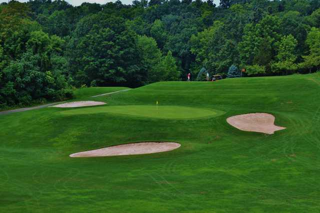 The eighth hole plays across a valley on the Lake Course at Great Gorge at Mountain Creek Resort in McAfee, N.J.