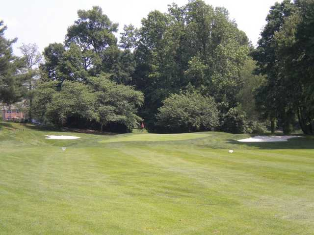 A view of green flanked by bunkers at Penderbrook Golf Club