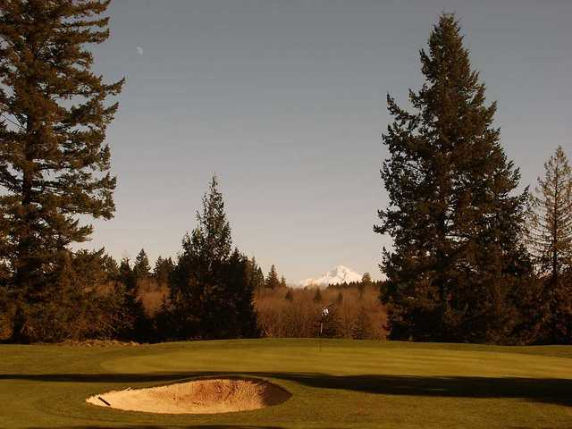 A view from tee #12 with Mt.  Hood in background at Oregon City Golf Club