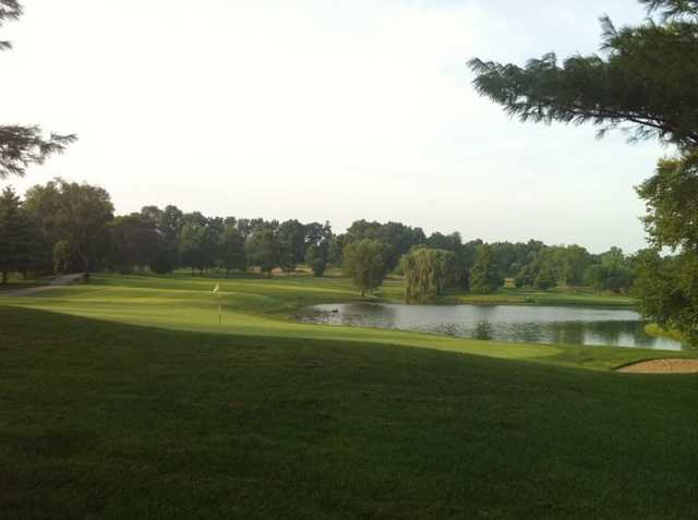 A view of hole #17 looking back towards the tee and green #3 in the back right at Spencer T. Olin Golf Course