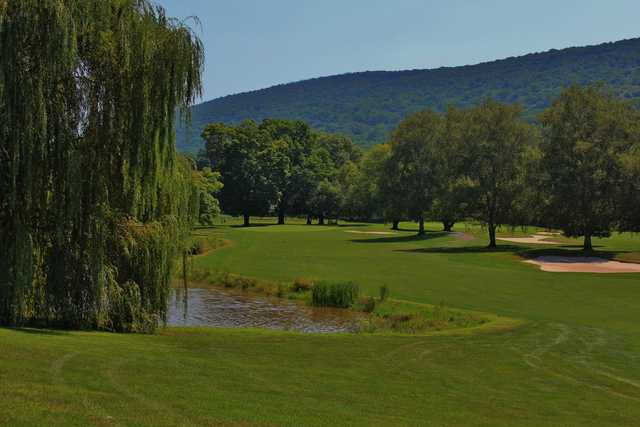 Wetland and ponds make the eighth hole on the White nine at Shawnee Inn and Golf Resort play difficult.