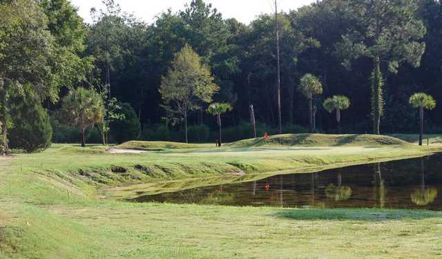 A view of green with water coming into play at Folkston Golf Club