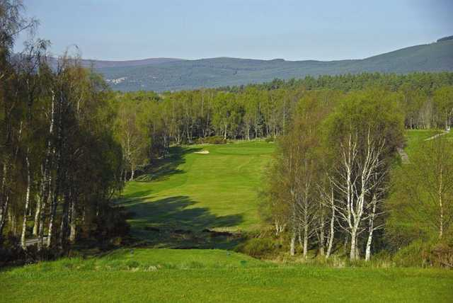 The raised 12th tee looking down onto the green at Boat of Garten Golf Club