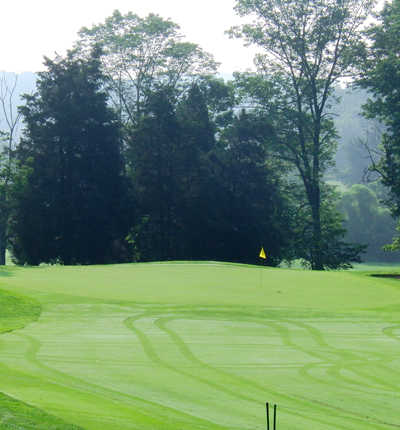 A view of green #5 at Galen Hall Golf Club