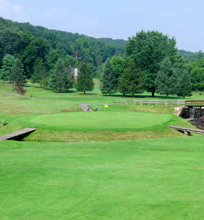 A view of the 15th hole at Galen Hall Golf Club