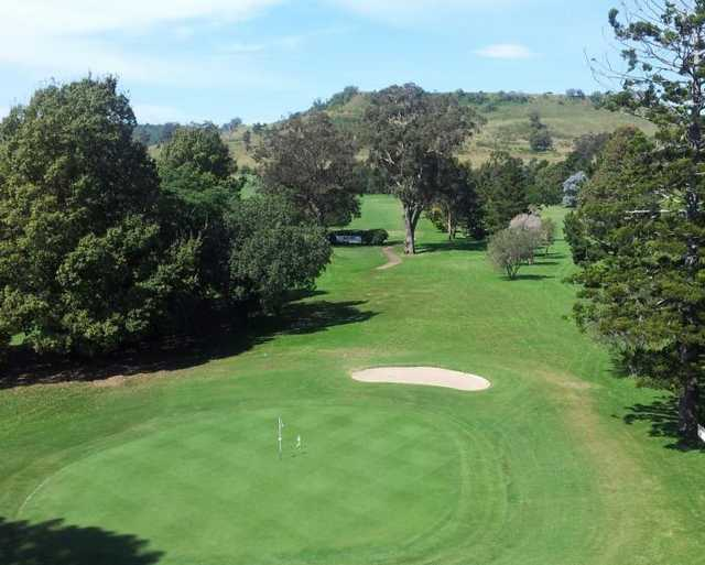 A view of the 9th green from the clubhouse roof at Antill Park Golf Club