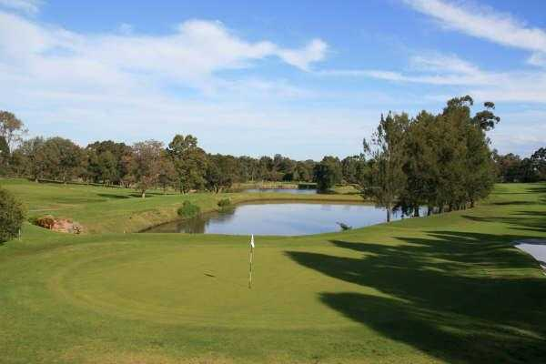 A view of green with water coming into play at Asquith Golf Club