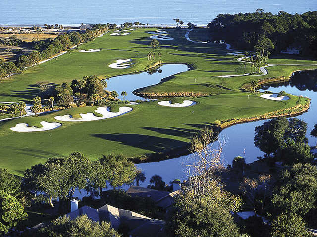 Palmetto Dunes - Aerial view of holes 9, 10 and 11 from the Jones course