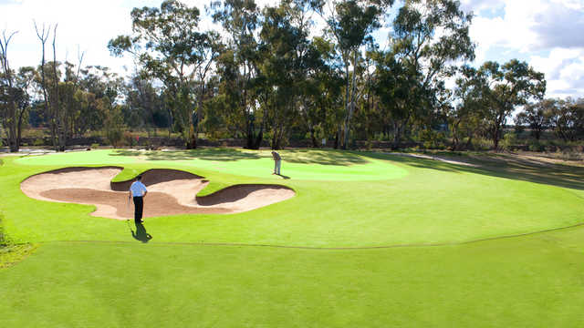 A view of the 1st green at cluBarham Golf & Sports.