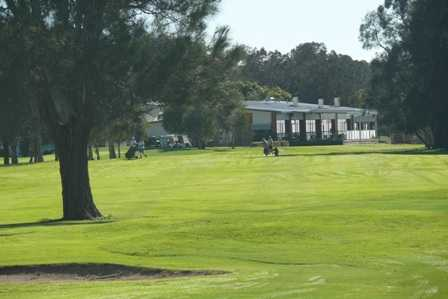 A view of the 1st fairway and clubhouse in background at Nambucca Heads Island Golf Club
