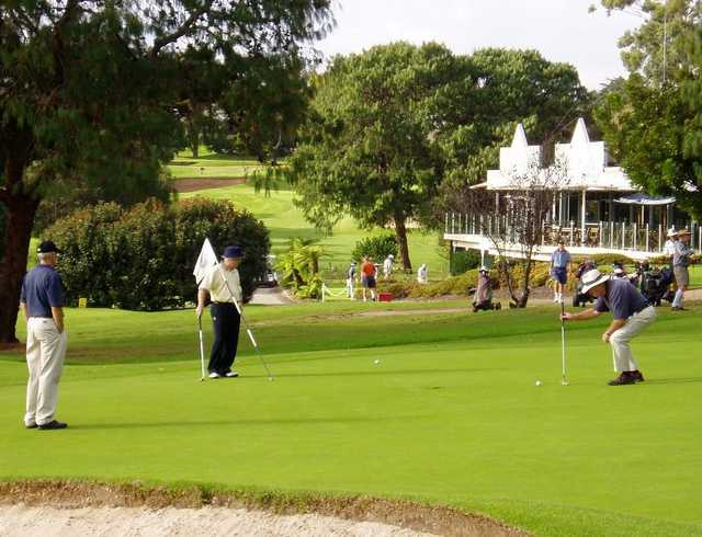 A view of hole #2 with clubhouse in background at North Ryde Golf Club