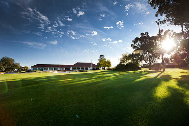 A view of the 18th hole and clubhouse in background at Oatlands Golf Club