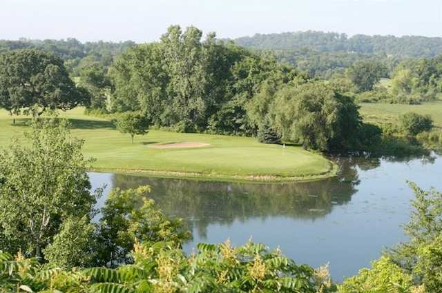 A view of hole #12 surrounded by water at Cannon Golf Club