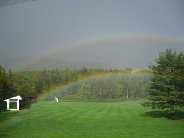 A view of the driving range at Stratton Mountain Country Club