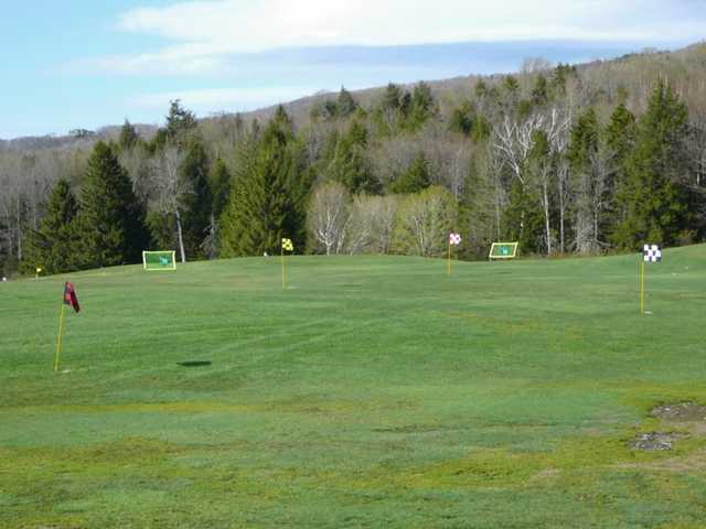 A view of the practice area at Stratton Mountain Country Club