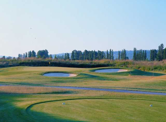 A view from a tee at Coyote Creek Course from Willows Run Golf Club