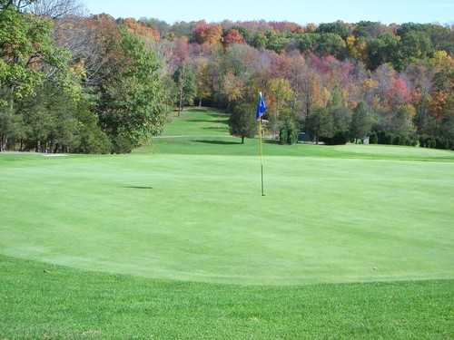 A fall view of green at Miner Hills Golf Course