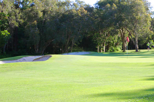 A sunny view of the 12th green at Caloundra Golf Club