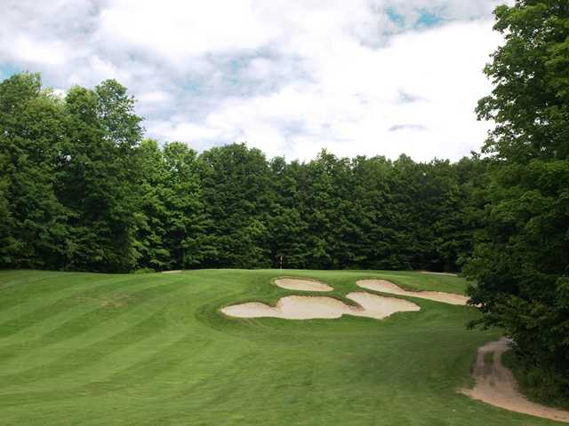 The par-4 ninth on the Black Forest G.C. at Wilderness Valley is short, but there are plenty of treacherous bunkers protecting the green.