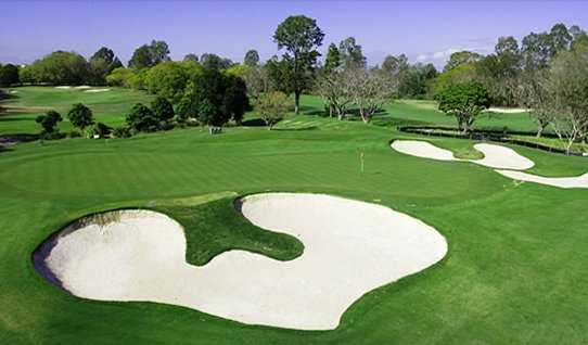A view of a hole protected by bunkers at Indooroopilly Golf Club