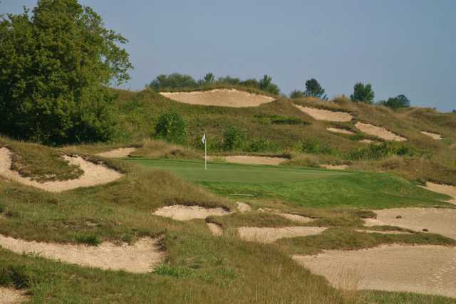 """The fourth hole on the Irish Course at Whistling Straits is called """"Sandbanks"""" for a reason."""