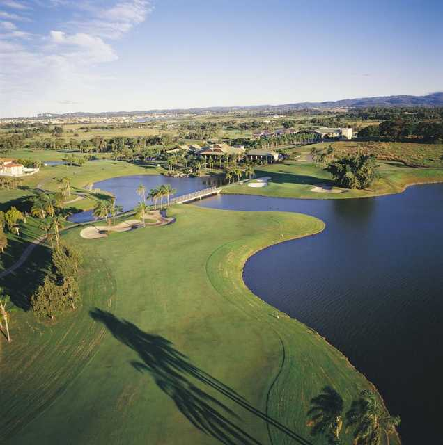 Aerial view of the 18th hole and clubhouse at Palm Meadows Golf Course