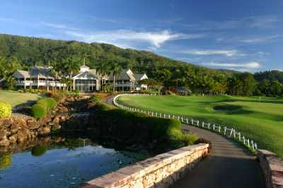 A view of the clubhouse at Paradise Palms Golf Course