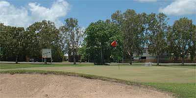 A view of a hole #3 protected by sand trap at Proserpine Golf Club