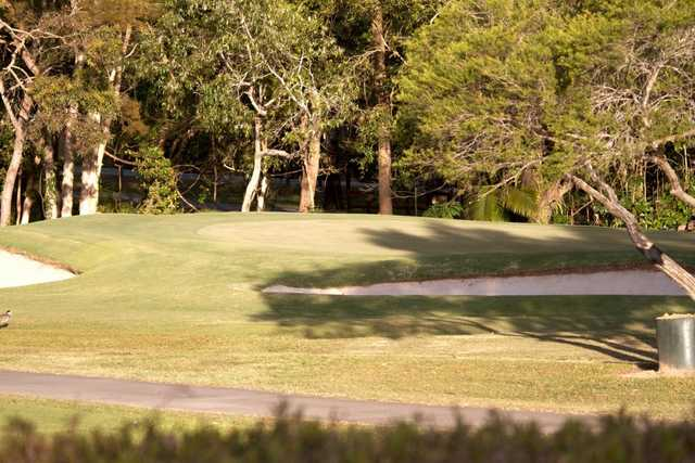 A sunny view of a green at Tewantin-Noosa Golf Club