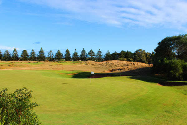 A view of the 8th hole at Links Lady Bay Golf Course