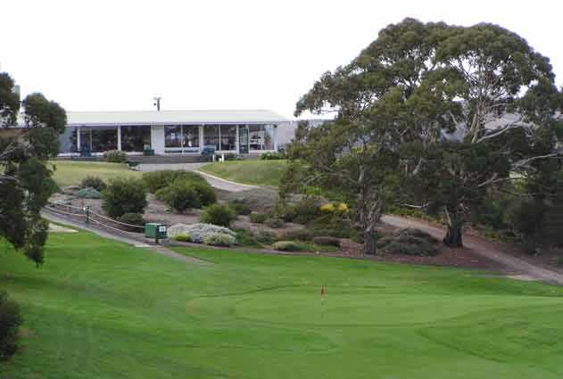 A view of the 18th green and clubhouse in background at Victor Harbor Golf Club