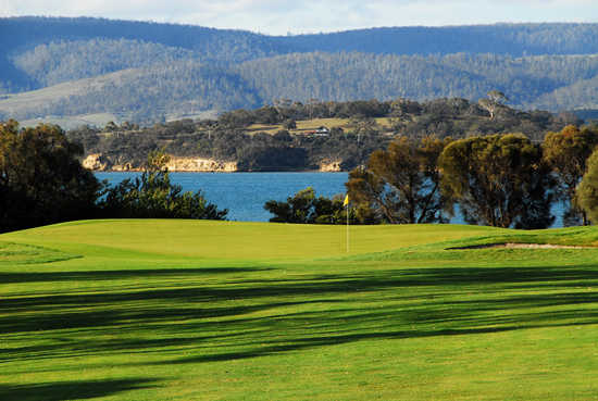 A view of the 5th green at Tasmania Golf Club