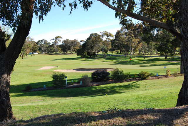 A view of green protected by sand traps at East Geelong Golf Club