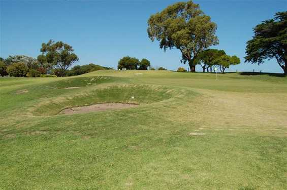 A view of the 8th green at Queenscliff Golf Club