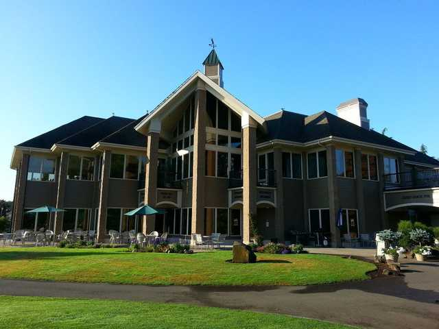 A view of the clubhouse at Albany Golf & Event Center