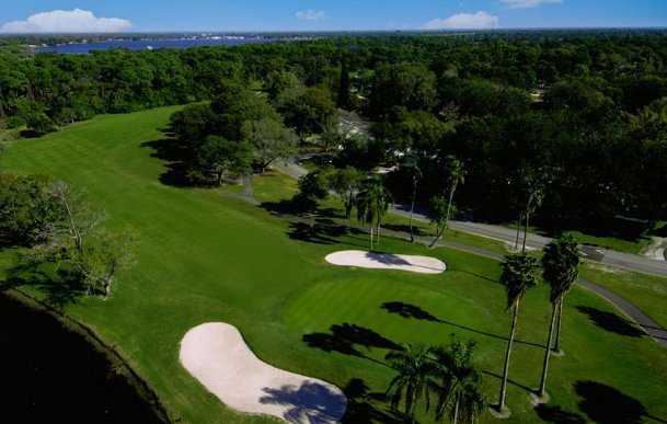 Aerial view of green #3 flanked by bunkers at St. Petersburg Country Club