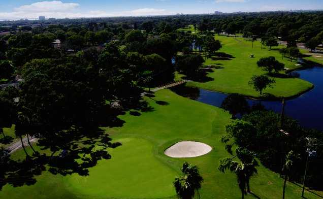 Aerial view of the 15th green at St. Petersburg Country Club