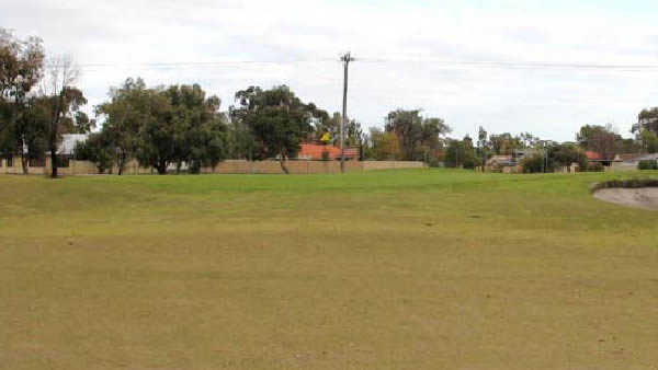 A view of green #8 at Island Course from Collier Park Golf Course