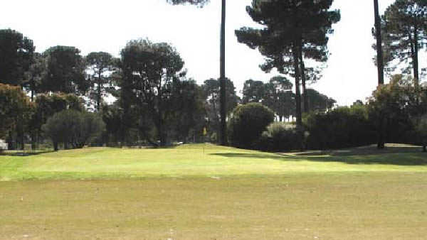 A view of a hole #1 at Pines Course from Collier Park Golf Course