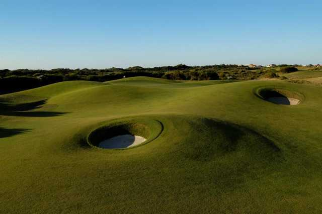 A view of the 12th green at Links Kennedy Bay Golf Club
