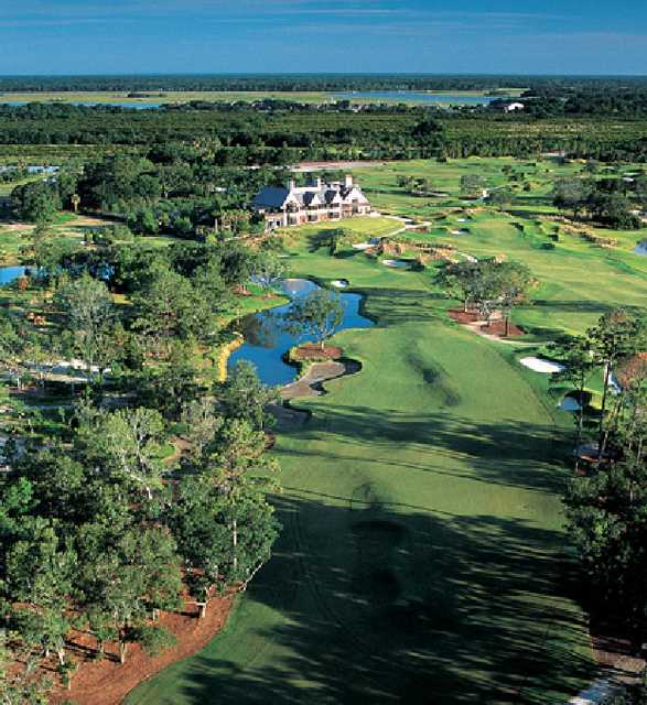 Aerial view of the 18th hole and clubhouse from the Cassique Course at Kiawah Island Club