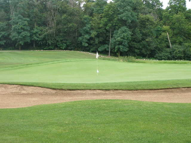 A view of the 16th green at Prairie Woods Golf Course