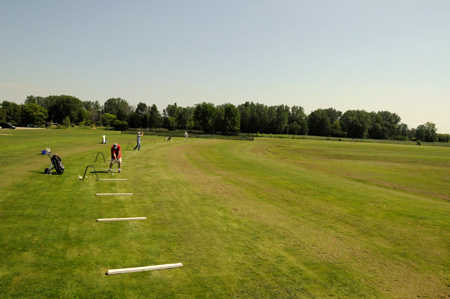 A view of the driving range tees at Mr Golf's Ultimate Range